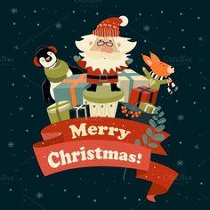 Santa Claus, squirrel and penguin by masastarus on Creative Market