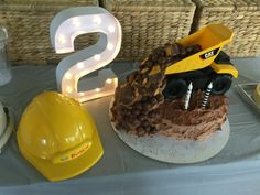 2nd birthday cake boy construction dump truck chocolate