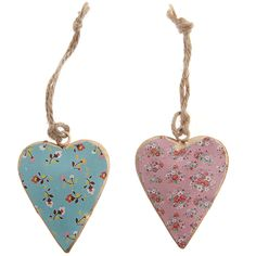 Pretty mini metal floral shabby chic hanging heart available at Lorient Gift, Dun Laoghaire
