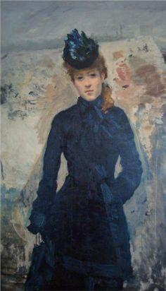 Giuseppe De Nittis (Italian 1846–1884) [Impressionism, Salon] Promenade Hivernale, 1878.