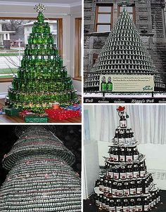 Glass Bottle Trees (image credits:interbent) Perhaps you are not a big fan of plastic or aluminum. Perhaps you like your beer from a bottle? These creative Christmas trees were made with glass beer bottles. In fact, wine or hard liquor bottles could be used. It had better be one giant party or else the makers of these cool trees would suffer from many wicked hangovers.