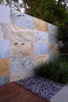 Eco Outdoor - Walling - Split Stone - Cobb & Co Exterior Paint Colors, Exterior Design, Interior And Exterior, Outdoor Bathrooms, Outdoor Rooms, Outdoor Showers, Outdoor Living, External Wall Cladding, Natural Stone Wall