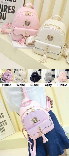 Leisure Lotus Leaf School Backpack PU Girls Tassels Pink Rabbit Ear Backpack for big sale! #rabbit #backpack #bag #cute #animal #colleg
