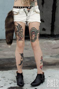 Jordan #inked #ink #inkedgirls #tattoo #tattoos #tats #girl #inkedmag #tattooedwomen #girlswithtattoos #womenwithtattoos BESS shorts; model's own boots; stylist's own raccoon tail.