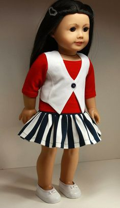American Girl Doll Clothes-Urban Vest, Top and Ruffled Skirt