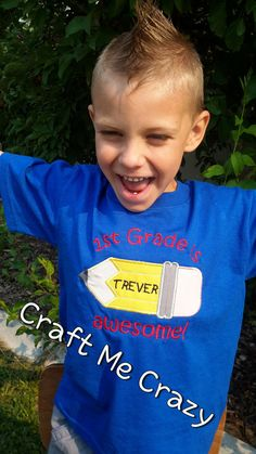"""K, 1st, 2nd, 3rd, 4th, 5th """"Grade is Awesome!"""" Personalized Embroidered Pencil School Shirt"""