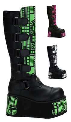 Cyberpunk Boots Men's Platform Punk Boot. I DONT CARE IF THESE ARE MENS SHOES I WANT THEM!