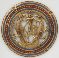 """met-medieval-art: """" Medallion from a Coffret, Medieval Art Medium: Copper: pierced, repoussé, chased, engraved, scraped, stamped, and gilt; champlevé enamel: medium blue and red. Gift of J. Pierpont Morgan, 1917 Metropolitan Museum of Art, New York,..."""