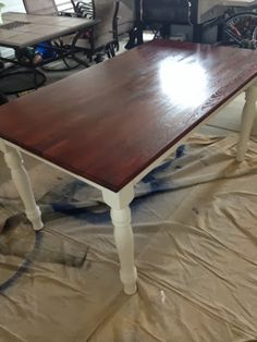 35 thrifted kitchen table makeover, kitchen design, painted furniture, repurposing upcycling, The top and legs were both sealed with several protective coats of polyurethane to guard against scratches
