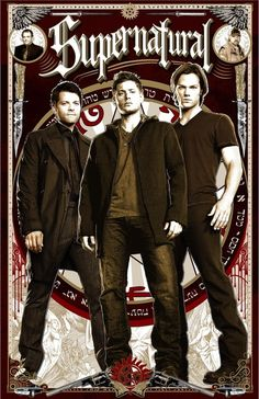 Supernatural Sam, Dean Winchester Castiel, Bobby and Crowley Poster  Stretched Canvas