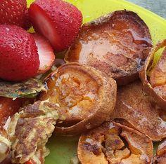 Sweet potato slices with a honey cinnamon drizzle! -> honey cinnamon drizzle!