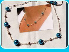 COLLIER Argenté délicate Perles Royal Blue : Collier par camelys-bijoux