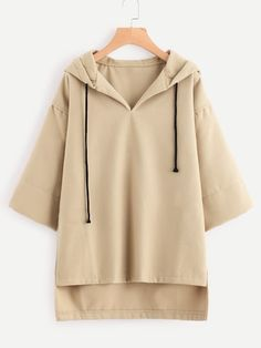 SheIn offers Hooded Drawstring Dip Hem Woollen Blend Sweatshirt & more to fit your fashionable needs. Fashion Mode, Fashion News, Fashion Outfits, Sweat Shirt, Brown Hoodie, Vetement Fashion, Camisa Formal, Mode Hijab, Pulls