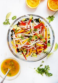 This Jicama Kale Salad with Orange Lime Vinaigrette is a delicious light summer salad packed with kale, red bell peppers, …