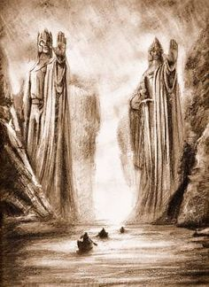 The Argonath Lord of the Rings Sepia Fine Art Print by A.Fry