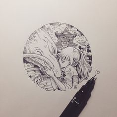 Studio Ghibli- spirited away Tatuaje Studio Ghibli, Studio Ghibli Tattoo, Studio Ghibli Art, Studio Ghibli Movies, Studio Art, Totoro, Chihiro Y Haku, Anime Tattoos, Manga Tattoo