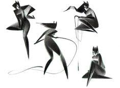 Beautifully geometric Catwomen by Junyi Wu