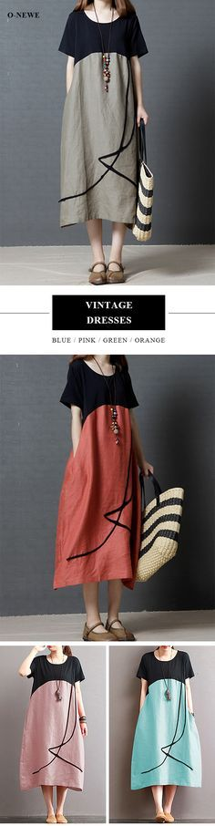 US$ 23.99 O-NEWE Vintage Loose O Neck Splicing Printed Dresses For Women