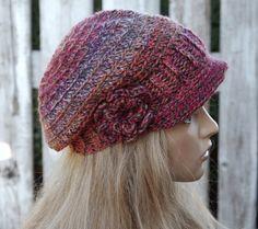 Crochet Newsboy Hat Womens Hat Winter Peaked Cap Crochet  Beanie Slouchy Women melange Boho Peaked hat Women hat Girls Hat