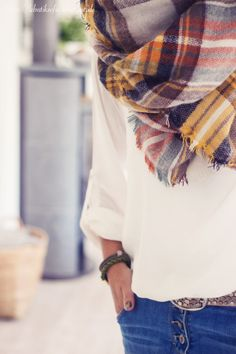 White shirt with plaid scarf