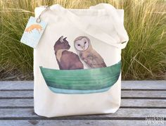 Owl and the Pussy Cat Tote Bag Ethically by ceridwenDESIGN on Etsy