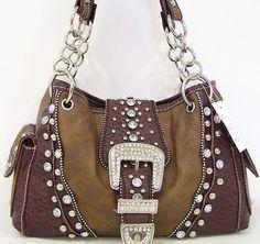 Western Cowgirl Rhinestone Belt Buckle Stud Pocket Chain Purse Handbag Brown Bag | eBay $40