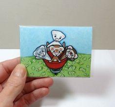 Art by Shelly Mundel - Ferrets Wheelbarrel Ride - Canvas ACEO Print #FerretArt