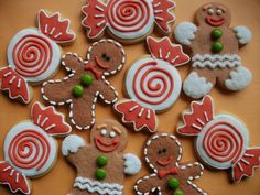 Gingerbread men and candies - shapes and detailing ideas i like! Gingerbread House Parties, Gingerbread Decorations, Gingerbread Man Cookies, Christmas Sugar Cookies, Gingerbread Men, Christmas Gingerbread, Christmas Sweets, Christmas Cooking, Holiday Cookies