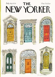 Laura Jean Allen : Cover art for The New Yorker 2839 - 16 July 1979 The New Yorker, New Yorker Covers, Building Illustration, House Illustration, House Sketch, House Drawing, City Drawing, Cover Art, Foto Transfer
