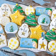 """This slightly less traditional Christmas cookie collection started with a star theme. """"Do you see what I see? A star, a star, dancing in the night With a tail as big as a kite, With a tail as big as a kite."""" ⭐️ * * * #christmascookies #christmaselves #holidaycookies #holidayparty #mainemade #madeinmaine #decoratedcookies #snowmancookies #startheme #starcookies #doyouhearwhatihear #customcookies #sugarcookies #royalicingcookies #danyscakes"""