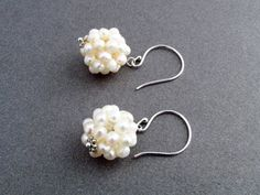 Freshwater pearl cluster earrings, freshwater pearls, sterling silver ear wires,1-3/8 inches,white earrings,pearl earrings,romantic earrings