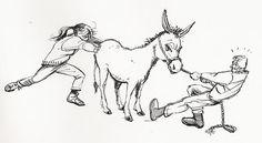 ZO  KOPPIG ALS EEN EZEL(= heel koppig zijn). Ezels hebben het stempel koppig te zijn, terwijl het dier ons vaak helpt. Het draagt zware lasten, zelfs in erg bergachtig gebied. Maar waarom 'koppig'? Ezels willen niet graag hindernissen of bruggen nemen, althans dat denkt men. Maar die 'koppigheid' is juist heel slim gedrag. Ze hebben geen zin om zich twee keer aan dezelfde steen te stoten!Hart voor dieren / diergeneeskunde.nl  https://puttertje.wordpress.com/2009/12/30/3x-koppige-ezel/
