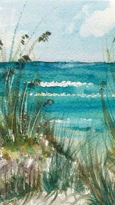 Beach watercolor by Tracee Murphy; Reminds me when I was young of an artist painting on the beach near my grandparent's home. Beach Watercolor, Watercolor Landscape, Watercolour Painting, Painting & Drawing, Watercolors, Watercolor Journal, Art Plage, Art Aquarelle, Drawn Art