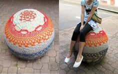Crochet cover around a street bollard. Newcastle, Aust.