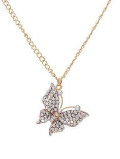 Butterfly AB Clear Crystal Gold Chain Pendant Necklace Fashion Women Jewelry - Chain Pendant - Ideas of Chain Pendant Butterfly Gold, Butterfly Pendant, Gold Chain With Pendant, Chain Pendants, Fashion Necklace, Fashion Jewelry, Women Jewelry, Long Chain Necklace, Pendant Necklace