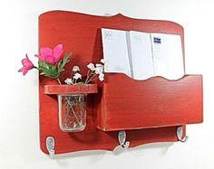 Mail organizer floral vase key hooks mail holder by OldWoodTrader