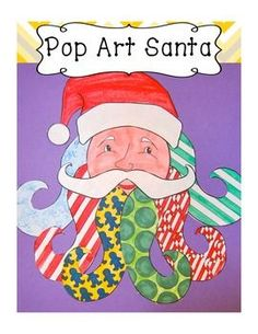 Easy & Fun! Pop Art Santa--- color,cut and assemble is lesson #1 and drawing and painting sis lesson #2. Do one, do the other, do both---your kids will love it (mine did!!).