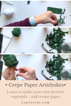 Learn how to make crepe paper artichokes on our website. This great tutorial provided by Susan Bonn shows you the process step-by-step. Crepe Paper Flowers Tutorial, How To Make Crepe, Artichokes, Diy Paper, Diy Tutorial, Make Your Own, Website, Crafts, Bonn