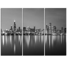 DesignArt Chicago Skyline at Night Black and White - 3 Piece Graphic Art on Wrapped Canvas Set