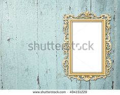 #Stock #photo: #blank #golden #Baroque #picture #frame on #aqua #weathered #wooden #boards #background #shutterstock