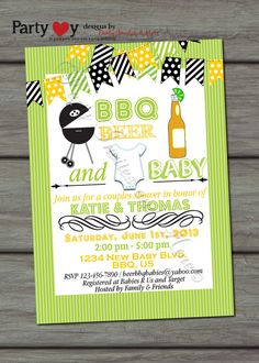 Beer BBQ and Baby Joint Baby Shower Gender by PartyInvitesAndMore, $8.00