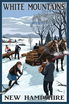 White Mountains, New Hampshire - Firewood Gathering - Lantern Press Poster