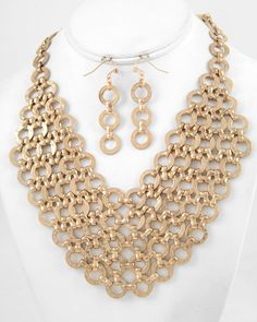 Matte Gold Tone / Lead Compliant / Metal Link / Necklace & Fish Hook Earring Set