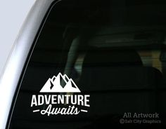Adventure Awaits Vinyl Decal With Mountains Car Window Sticker or Laptop Decal