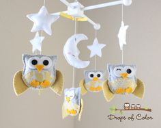 """Baby Crib Mobile - Baby Mobile - Nursery Owl Mobile - Yellow and Gray Owls """"Five Owls in the night"""" (You can pick your colors)"""