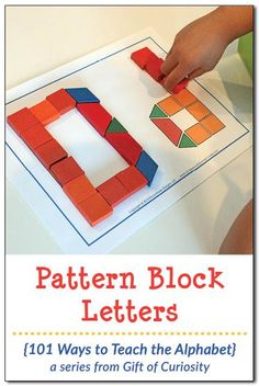 Kids can use pattern blocks to learn their letters while developing their fine motor skills at the same time. Post includes links to free pattern block templates to use with your kids. || Gift of Curiosity