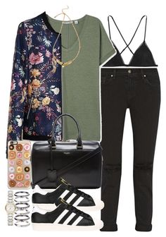 """""""Untitled #3191"""" by hellomissapple on Polyvore featuring Kiki de Montparnasse, J Brand, Casetify, Yves Saint Laurent, adidas, M.N.G and Burberry"""