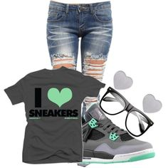 """Untitled #398"" by sha2mindless on Polyvore Cheap Jordan Retro 4  Grade School only $63, save up to 59% off for all #Nikes #Shoes"