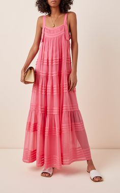 The pretty layers of Lee Mathew's 'Kitty' dress are so flattering on, and its A-line silhouette does wonders for movement. Cat Dresses, Nice Dresses, Dress Outfits, Chiffon Maxi Dress, Chiffon Ruffle, Bodycon Dress, Long Summer Dresses, Spring Dresses, Maxis