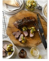 GRILLED PORK TENDERLOIN WITH AVOCADO APRICOT SALSA